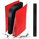 for PS5 Plates with Black Console Middle Skin, Shockproof PS5 Faceplates PS5 Side Plates, Hard ABS PS5 Replacement Shell Plate & Anti-Scratch Center Strip Sticker for Playstation 5 Disc Edition - Red