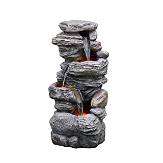 Peaktop 3-Tier Outdoor Waterfall Water Fountain with LED Lights for Garden Patio and Deck, Gray, 18.11 x 12.99 x 39.37 (B08XXWBG2W) | Amazon price tracker / tracking, Amazon price history charts, Amazon price watches, Amazon price drop alerts