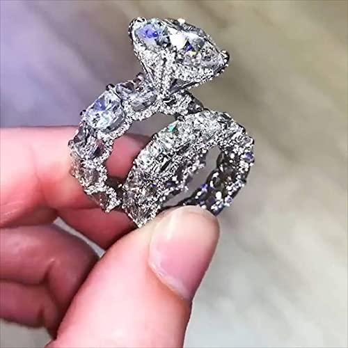 YANGYUE 3Ct Diamante Cz Conjuntos de Anillos 925 Joyas de Plata esterlina Promesa Compromiso Anillos de Boda para Mujeres Hombres Fiesta Bijou