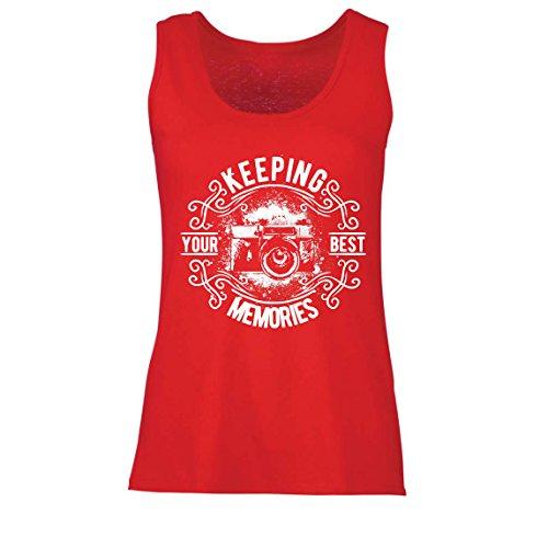 lepni.me Camisetas sin Mangas para Mujer Cámara del fotógrafo, Foto - manteniendo Sus Mejores Recuerdos, Amante de la fotografía (Medium Rojo Multicolor)