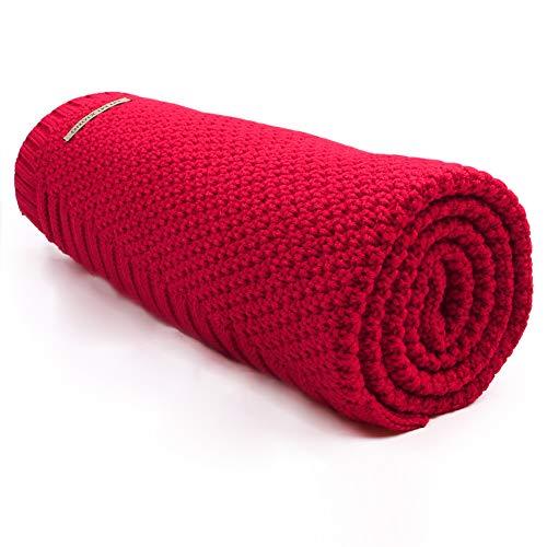mimixiong Babydecke/Kuscheldecke/Strickdecke für Mädchen und Jungen, 100 cm x 80 cm(Rot)