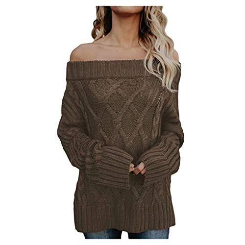 Fantastic Prices! Sweater Pan Hui Women Solid Off-Shoulder Long Sleeve Pullover Casual Loose Blouse ...
