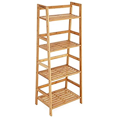 SONGMICS Bamboo Ladder Shelf Bookcase 4 Shelf Multifunctional Storage Rack Display Stand ULBR04Y