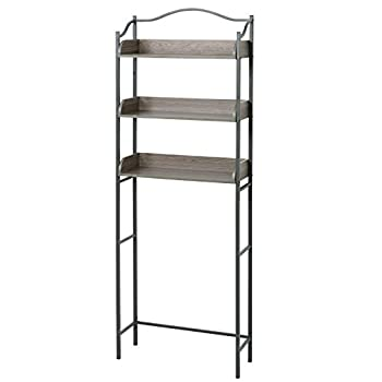 Zenna Home 3-Tier Over-The-Toilet Bathroom Spacesaver Driftwood Gray/Pewter