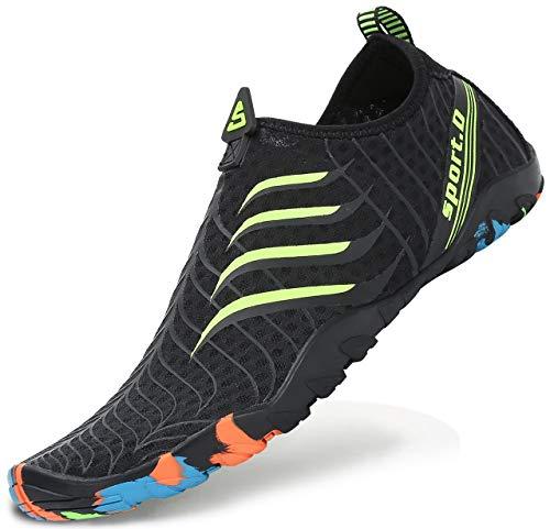 SAGUARO Zapatos de Surf de Descalzo Playa Aqua Buceo Natación Yoga Calcetines Hombre Mujer,03-Negro Verde,40
