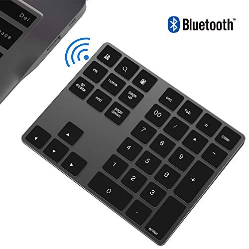 Teclado numérico Bluetooth, IKOS Teclado numérico externo Bluetooth de 34 teclas con múltiples accesos directos para computadora portátil Windows Surface IOS iMac Mackbook iPad Android Tablet
