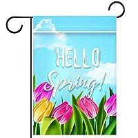 庭の装飾の屋外の印の庭の旗の飾りこんにちは春 テラスの鉢植えのデッキのため