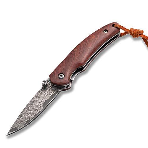 BGT Damast Klappmesser Outdoor Taschenmesser Handmade Klappmesser Damast Taschenmesser Klappmesser Holzgriff aus Sandelholz Einhandmesser für Camping, Jagd, Angeln