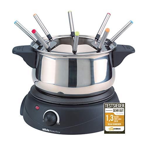 Silva-Homeline FO 810 Edelstahl Fondue mit manueller Temperatureinstellung, Fleisch-, Schoko-, Käsefondue, für bis zu 8 Personen