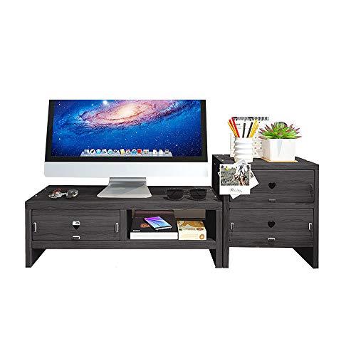 Soporte para monitor de escritorio, organizador de escritorio con 3 cajones para suministros de oficina y espacio de almacenamiento para teclado y ratón, archivo A4, color negro de madera (negro)