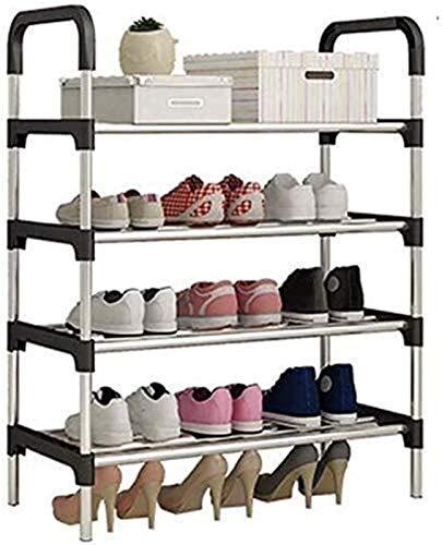 Estante de zapatos Zapatero 4 Estanterías de calzado zapatero Organizador de soporte del estante for 12 pares de zapatos, zapatero con espesado electroforesis tubos, for la entrada y dormitorio Estant