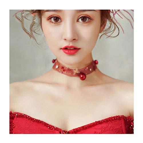 ZAZA Collares Mujer Hombre Collar de Temperamento de Malla roja, Collar de Anillo Corto, Regalo de cumpleaños/Regalo del día de la Madre/día de San Valentín (Color : Style B)