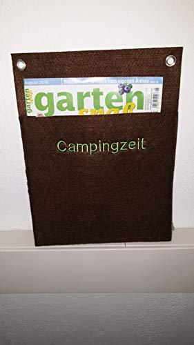 """Zeitungshalter für die Wand aus Filz/Zeitschriftenhalter/Hängeaufbewahrung/Wandmappe/Organizer/Zeitung/braun mit Stickerei""""Campingzeit""""/ handmade"""