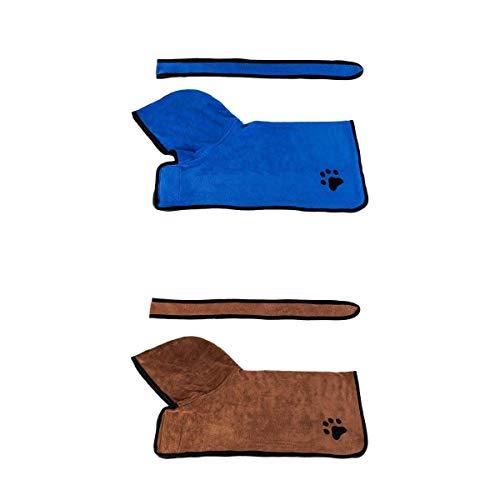 MagiDeal 2 Piezas Perro Suave Secado Rápido con Cinturón para Perro Gato Bata de Baño Toalla Azul/Marrón