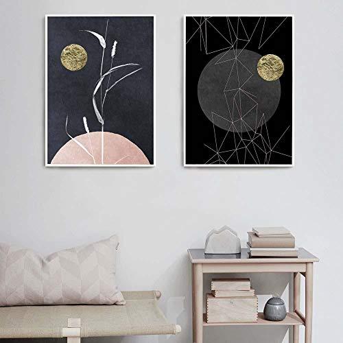 zszy Stile Nordico Quadro su Tela Wall Art Poster Geometricamente Astratto Fiori planetari Picture Home Decor -38x50cmx2 Pezzi Senza Cornice