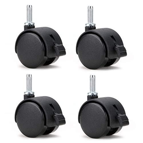 """Skelang 4 Pcs 1.5' Nylon Plastic Swivel Stem Casters Wheel with Brakes, Stem Diameter 0.26"""" for Office Chair, Game Chair, Kitchen Shelf"""