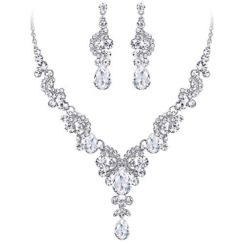 EVER FAITH Austrian Crystal Bridal Floral Wave Teardrop Necklace Earrings Set Clear Silver-Tone