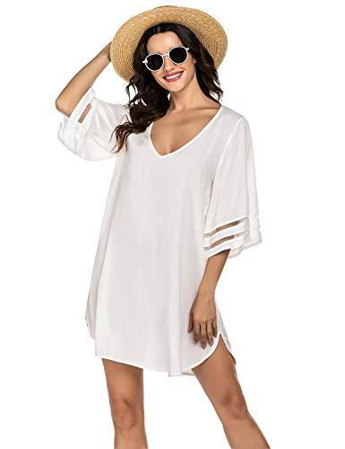 Balancora Damska sukienka plażowa lato bikini, tunika plażowa, sukienka w stylu boho, kaftan na plażę, kostium kąpielowy, S-XXL, 1 biały, XL