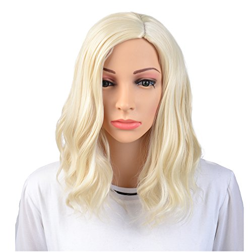 BERON 14' Women Girls Short Curly Wavy Wig Rose Net with Wig Cap (Light Blonde)
