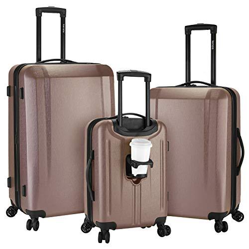 kensie 3 Piece 'Victoria' Smart Spinner Luggage Set, Rose Gold