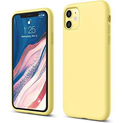 """elago Silicona Líquida Funda Compatible con iPhone 11 (6.1""""), Silicona Premium, Protección Funda Protectora 3 Tapas Estructura (Amarillo)"""