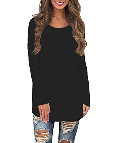 Womens Basic Crew Neck Blouses Casual Long Sleeve Tee Shirt Loose Fit Pullover Solid Curved Hem Tunic Tops (Black Tunic, M)