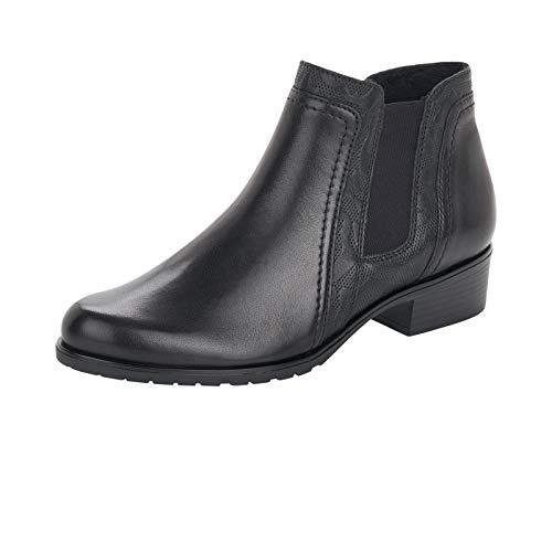 Remonte Damen Stiefeletten, Frauen Chelsea Boots, Stiefel halbstiefel Bootie Schlupfstiefel flach Freizeit leger,Schwarz,38 EU / 5 UK