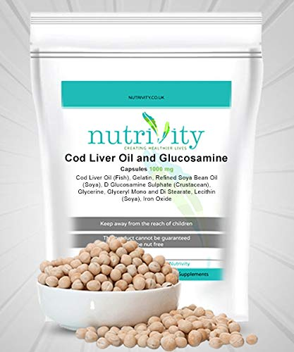 Cod Liver Oil & Gluco 1000mg Capsules for Joint Health by Nutrivity (240)