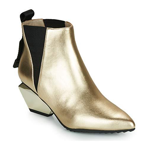 United Nude Damen Echtleder Stiefelette mit 6 cm Blockabsatz    Jacky Tek Ankle Boots (37 EU, Gold)