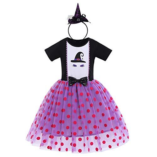 FYMNSI Déguisement d'Halloween pour bébé fille et enfant Fantôme citrouille A-ligne Tulle Princesse Carnaval Party Cosplay Déguisement pour 6 mois à 6 ans - Violet - 5 ans