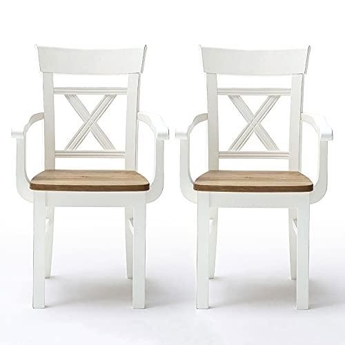 casamia Set di 2 sedie da sala da pranzo Novara con braccioli e schienale in legno di pino nordica,...