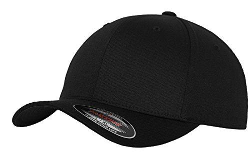 Flexfit Unisex Wooly Combed Unisex Kappe ohne Verschluss für Herren, Damen und Kinder Wooly Combed Baseball Cap, blk/blk, S/M (Herstellergröße: S/M)