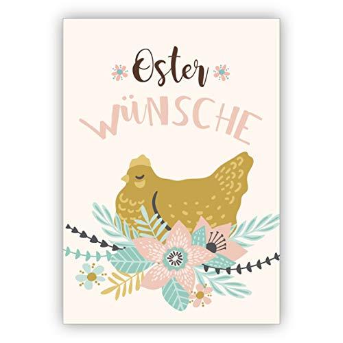 Prachtige retro paaskaart met kip in bloemen, nest: wenskaart voor paasfeest, voor familie, vrienden en klanten. mooie groet, vouwkaart met envelop voor vrienden en familie 16 Osterkarten