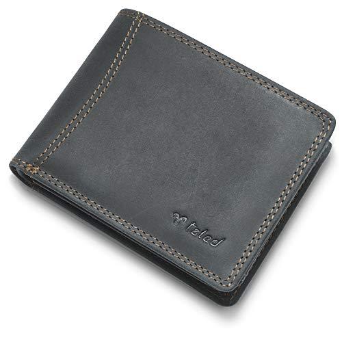 TALED® Portemonnaie Herren Leder schwarz Hunter - Aus hochwertigem Vintage Leder mit RFID-Schutz - Geldbeutel Herren inkl. E-Book für Lederpflege - Herren Geldbörse - 2 Jahre Garantie