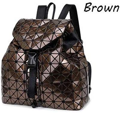 Women Backpacks Diamond Lattice Bucket String Bagpack Sequins Mirror Laser Bag  Geometric Joint Black Rucksack School 5c7a17b02f12d