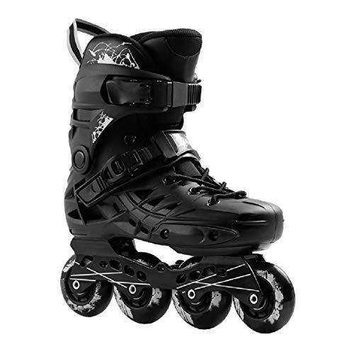 mfwwewe Outdoor Inline Skates Adults Black Sports Fitness Professional Single Row Skates Comfortable Breathable Roller Skates For Women And Men Color BLACK Size 39 EU7 US6 UK245CM JP