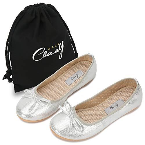 [Cliway Walk] [Amazon限定ブランド]バレエ シューズ パンプス フラット 携帯スリッパ ぺたんこ 靴 ローヒール レディース 折り畳 軽量