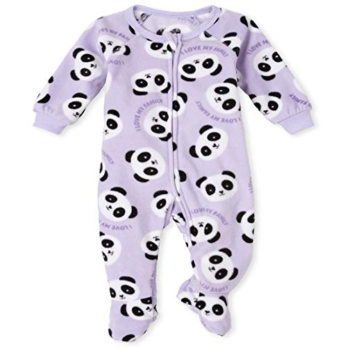 The Children's Place Girls' Baby and Toddler Panda Fleece One Piece Pajamas, Lovely Lavender, 0-3 Months