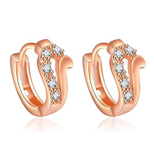 Ohrringe Für Damen Hohl Ohrstecker Zirkon Mode Ohrring Für Frauen Einfache Dame Schmuck Runde Reihe Bohrer Rose Gold Ohrclip A