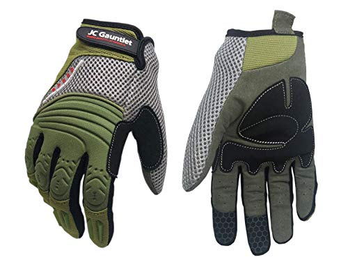 RJ02 JC Gauntlet Mechanic Work Gloves for All-purpose, Durable, Flexible, Breathable, & Lightweight, Palm Padded & Neoprene Knuckle, Excellent Grip & TPR impact protection (Green & Grey, Size Large)