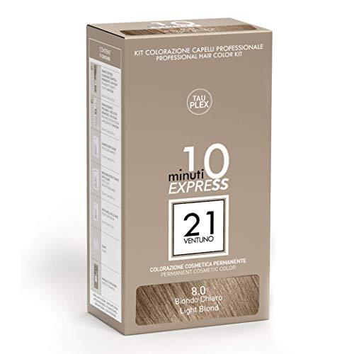 21 VENTUNO Tinta per Capelli senza Ammoniaca Professionale fai da te Copertura Capelli Bianchi in 10 minuti Senza Parabeni e Ammoniaca Colore Biondo Chiaro 8.0 MADE IN ITALY