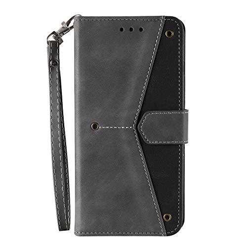 TOPOFU Leder Folio Hülle für Xiaomi Mi 11 Lite 5G/4G, Premium Flip Wallet Tasche mit Kartensteckplätzen, [Standfunktion] TPU+PU Lederhülle Handyhülle Schutzhülle, Grau