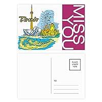カナダ味トロント風景のランドマーク ポストカードセットサンクスカード郵送側20個ミス