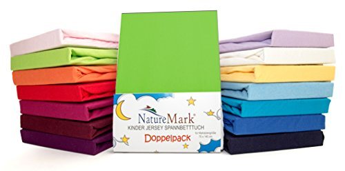 2er Sparpack Kinder Spannbettlaken Jersey 100% Baumwolle für Kinderbettmatratzen ÖKO Tex Geprüft- Gr. 70 x 140 cm, Apfelgrün / Hellgrün