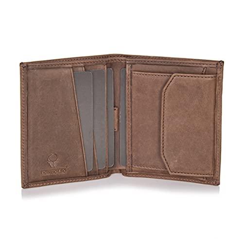 DONBOLSO® Rom 2.0 I Mini Geldbörse mit RFID-Schutz I Slim Wallet mit Münzfach I echtes Leder I Geldbeutel Herren (Braun Vintage, mit Münzfach)