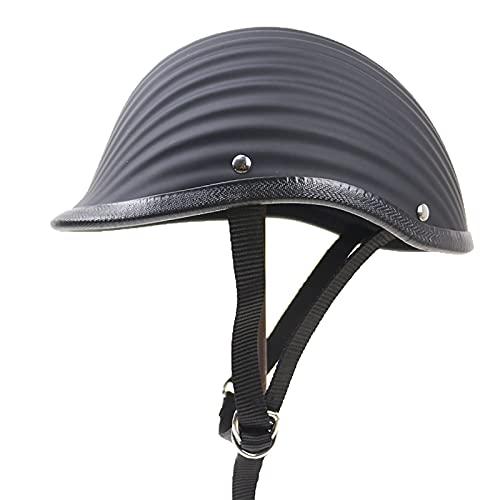 YHNMK Moto Helmet Casco de Equitación Retro Moto Medio Casco Casco Masculino de Equitación Retro para Street Cruiser Scooter Ciclomotor Dot Certificación