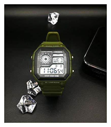 Hombres Digital LED Reloj del Deporte del Buceo Cronómetro Verde Militar Unisex Reloj de la Manera de Goma del Reloj electrónico del relogio Masculino (Color : Army Green Watch)