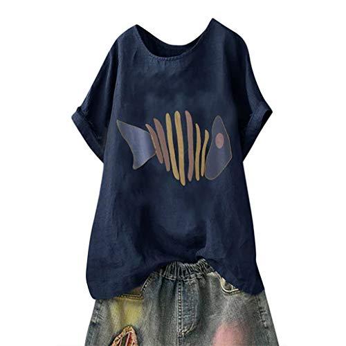 Lazzboy Frauen Plus Size Kurzarm O-Neck Print Bluse Top T-Shirt Leinenbluse Damen Sommer Große Größen,beiläufige Fischgrätenmuster Lose Lustige Shirt Tunika Tops Mittelalter(Marine,L)