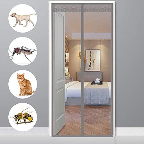 CHENG Fliegengitter tür Haustür 90x230cm Insektenschutz Magnet Fliegenvorhang Automatisches Schließen Klebemontage Ohne Bohren für Flure/Türen/Windows - Grau
