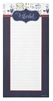 C.R Gibson Blue and White  To Market  Magnetic Shopping List for Refrigerator 75 Sheets 4.5   W x 9.25   H